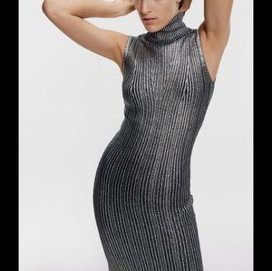 NWT Zara Metallic Silver Knit Turtleneck Dress